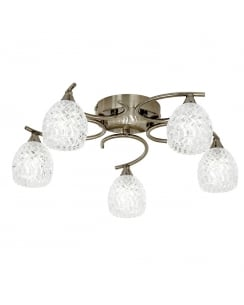 Endon Boyer 5 Light Modern Semi-Flush Fitting BOYER-5AB
