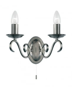 Endon 2030-2AS Bernice 2 Light Decorative Wall Light