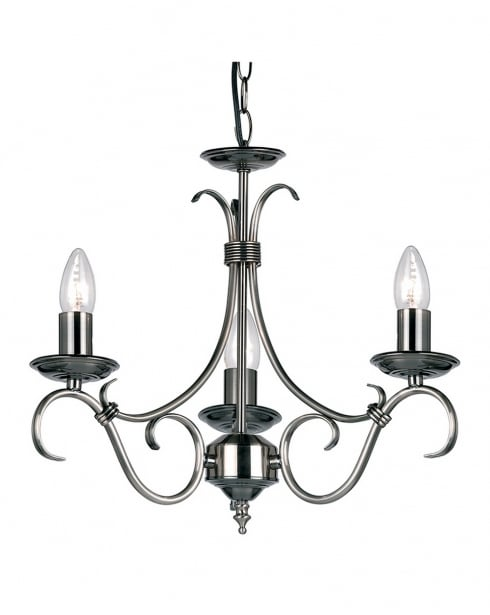 Endon 2030-3AS Bernice 3 Light Traditional Chandelier