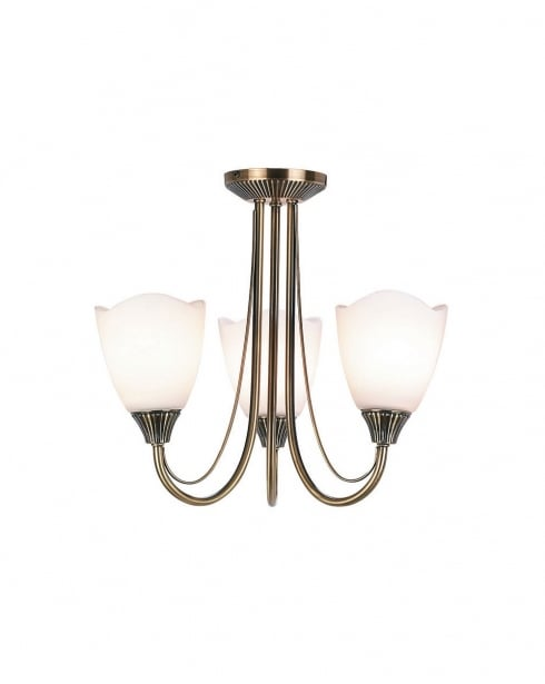 Endon 601-3AN 3 Light Traditional Semi-Flush Fitting