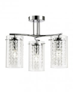 Endon Alda 3 Light Chrome and Crystal Semi-Flush Fitting ALDA-3CH