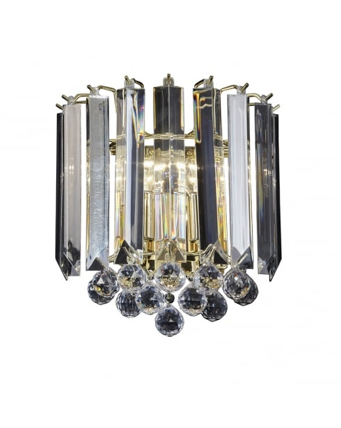Endon Fargo Crystal Brass Decorative Wall Light FARGO-WBBP