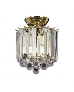 Endon Fargo Crystal Brass Flush Ceiling Fitting FARGO-BP