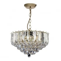 Endon Fargo Crystal Brass Pendant Light FARGO-14BP