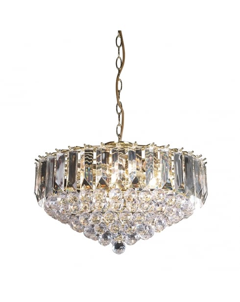 Endon Fargo Crystal Brass Pendant Light FARGO-18BP