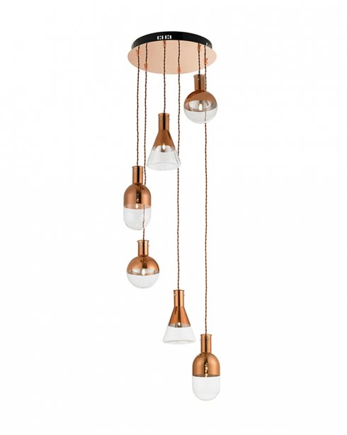 Endon Giamatti 6 Light Copper and Glass Pendant Cluster GIAMATTI-6CO