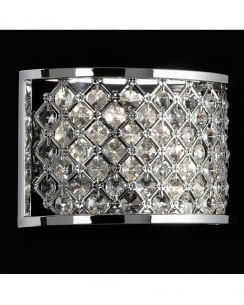 Endon Hudson 2 Light Crystal Decorative Wall Light HUDSON-2WBCH