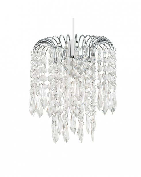 Endon Levens Clear Crystal and Chrome Pendant Shade NE-LEVENS-CH