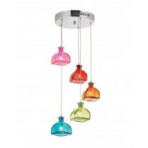 Endon Sarandon 5 Light Multi-Coloured Glass Pendant Cluster SARANDON-5MULTI