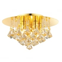 Endon Renner Crystal Gold Flush Ceiling Fitting 61245