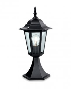 Firstlight 6 Panel Single Light Traditional Outdoor Light Post P103BK