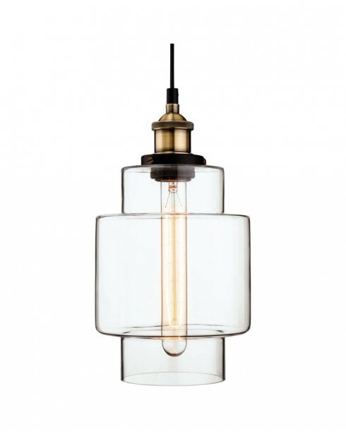 Firstlight Empire Retro Antique Brass and Glass Ceiling Pendant 3475AB