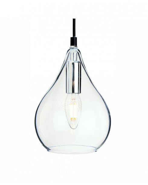 Firstlight Omar Clear Glass and Chrome Ceiling Pendant 4877CH