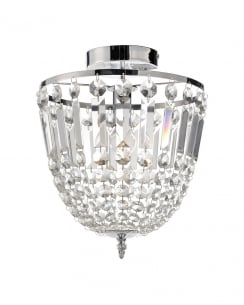 Leuchten Direkt Kamea Crystal Chrome Semi-Flush Fitting 15003-17