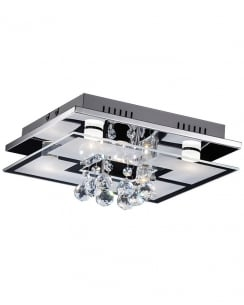 Paul Neuhaus Chiron Crystal Clear Flush Ceiling Fitting 6067-17
