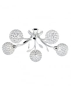 Marco Tielle Globular 5 Light Crystal Chrome Semi-Flush Fitting MT6575-5CC