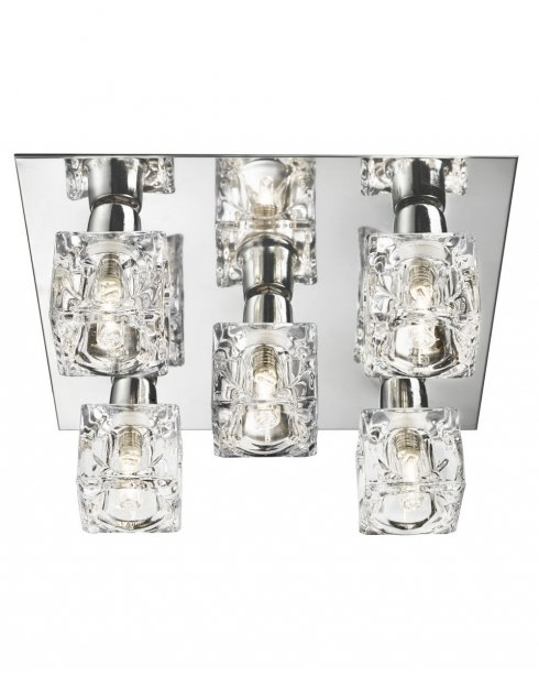 Marco Tielle Ice Sculpture 5 Light Crystal Chrome Flush Ceiling Fitting MT2275-5