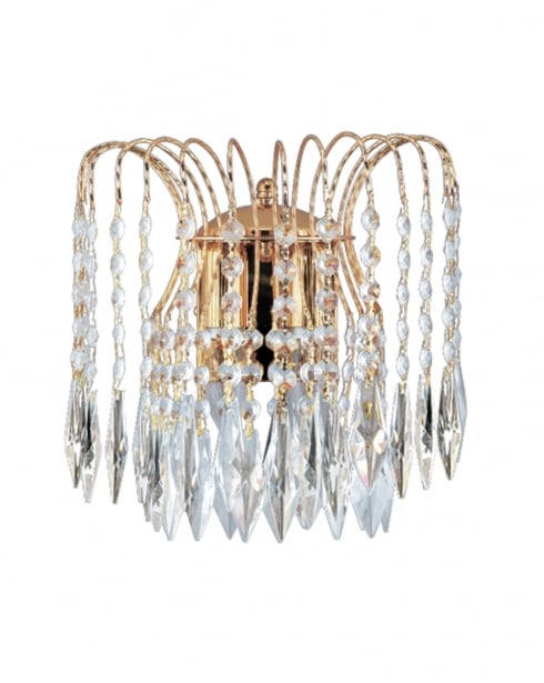 Marco Tielle Cascade 2 Light Crystal Gold Decorative Wall Light MT5172-2