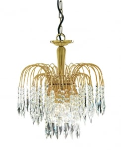 Marco Tielle Cascade 3 Light Crystal Gold Pendant Light MT5173-3