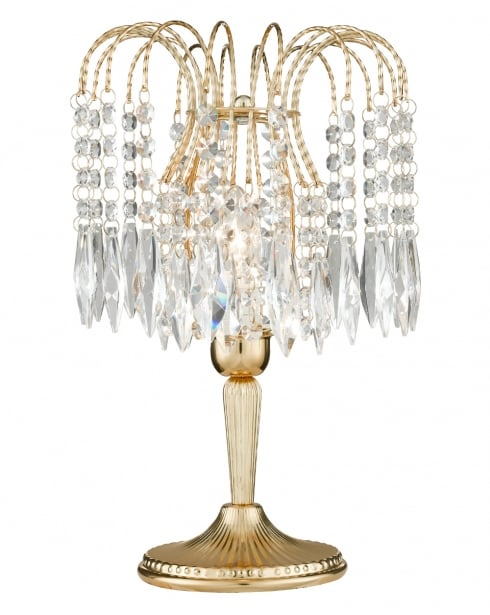 Marco Tielle Cascade Single Light Crystal Gold Incidental Table Lamp MT5171