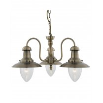 Marco Tielle Nautical 3 Light Traditional Brass Multi-Arm Pendant MT5333-3AB