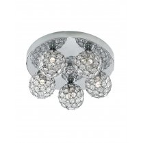Marco Tielle Sundew 5 Light Crystal Chrome Flush Ceiling Fitting MT5075-5CC