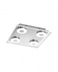 Paul Neuhaus Kelani Modern Chrome Flush Ceiling Fitting 6033-17