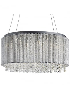 Searchlight Beatrix Crystal Chrome Pendant Light 4048-8CC