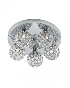 Searchlight Bellis II 5 Light Crystal Flush Ceiling Fitting 5075-5CC