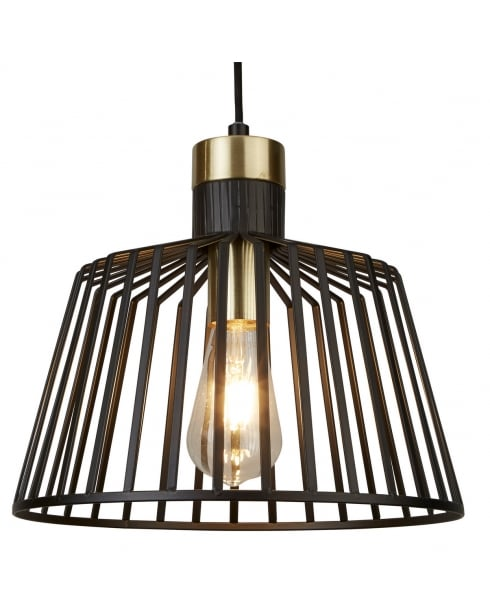 Searchlight Bird Cage Pendant Light 9411BK