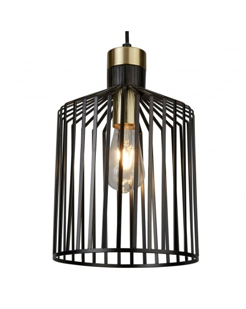 Searchlight Bird Cage Pendant Light 9413BK