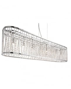 Searchlight Elise Crystal Chrome Pendant Light 9448-8CC