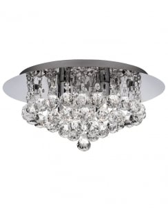 Searchlight Hanna 4 Light Crystal Bathroom LED Ceiling Fitting 4404-4CC-LED