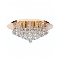 Searchlight Hanna 6 Light Crystal semi-flush Ceiling Fitting 3406-6GO