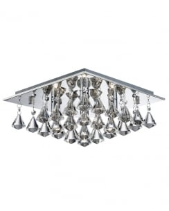 Searchlight Hanna Crystal Chrome Flush Ceiling Fitting 7304-4CC