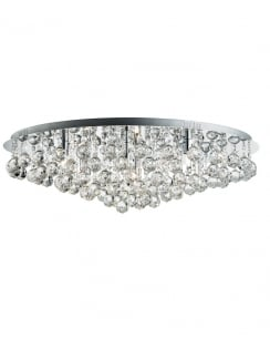 Searchlight Hanna Crystal Chrome Flush Ceiling Fitting 9598-8CC
