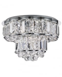 Searchlight Hayley Crystal Chrome Flush Ceiling Fitting 8374-4CC