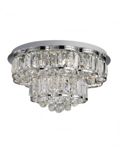 Searchlight Hayley Crystal Chrome Flush Ceiling Fitting 8376-6CC