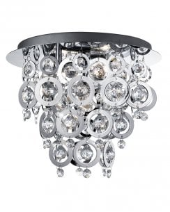 Searchlight Nova 3 Light Crystal semi-flush Ceiling Fitting 0573-3CC