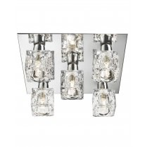 Searchlight Sculptured Ice 5 Light Crystal Flush Ceiling Fitting 2275-5