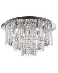 Searchlight Beatrix Crystal Chrome Flush Ceiling Fitting 9198-8CC