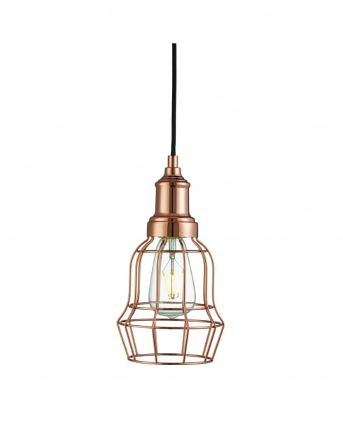 Searchlight Bell Cage Modern Copper Pendant Light 6847CU