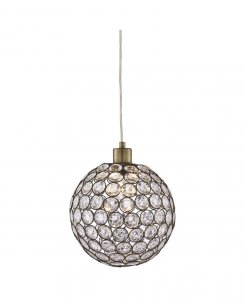 Searchlight Bellis II Single Light Crystal Pendant Light 4145AB