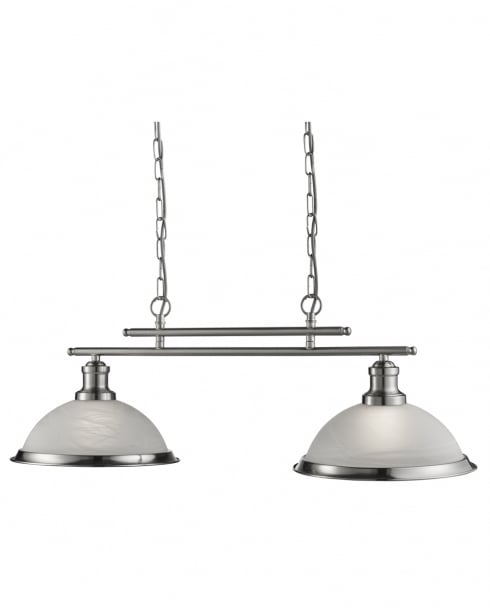 Searchlight Bistro Modern Silver Pendant Light 2682-2SS