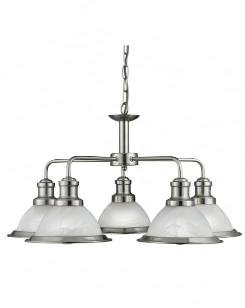 Searchlight Bistro Modern Steel Multi-Arm Pendant 1595-5SS