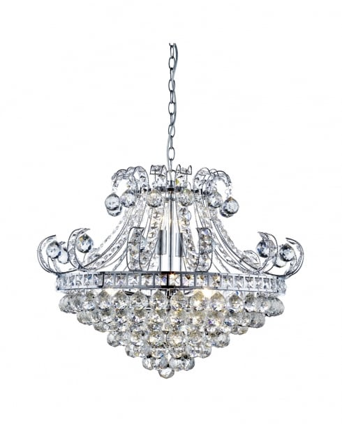 Searchlight Bloomsbury Crystal Clear Pendant Light 5046-6CC