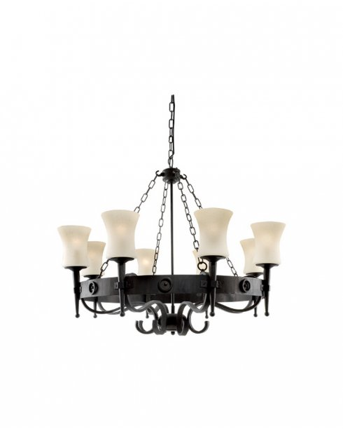 Searchlight Cartwheel 8 Light Traditional Chandelier 0818-8BK