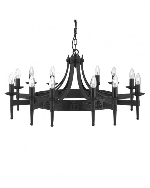 Searchlight Cartwheel Traditional Iron Chandelier 24212-12BK