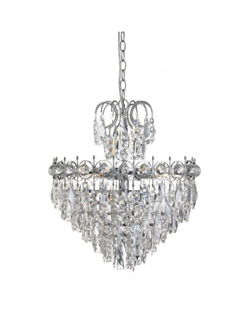 Searchlight Catherine Crystal Chrome Pendant Light 2595-5CC