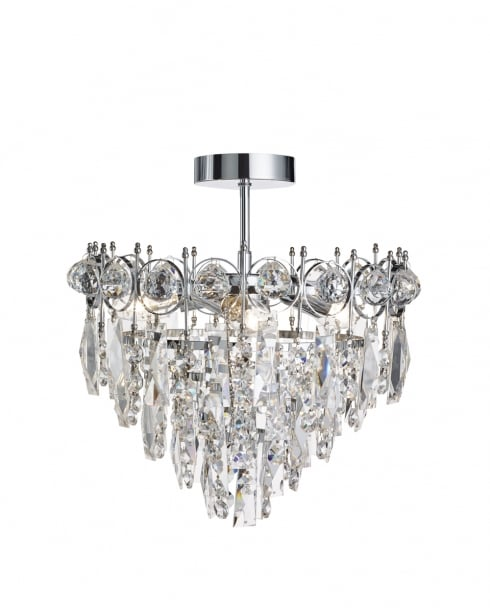 Searchlight Catherine Crystal Chrome Semi-Flush Fitting 2593-3CC